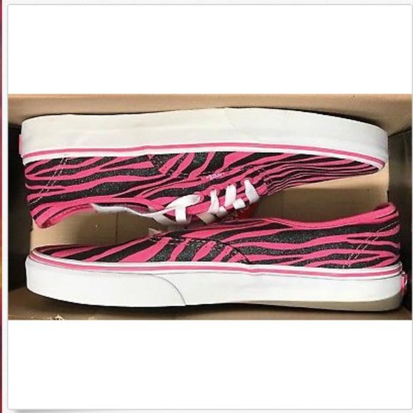 0fffdd655a2b Vans Authentic Zebra Glitter Hot Pink Black Shoes